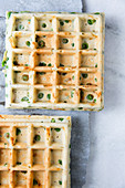 Vegetarian pea and cheese waffles
