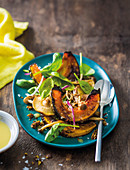 Roasted squash salad with tahini dressing