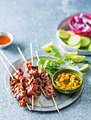 BBQ pork satay with peanut sauce