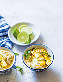 Brown rice and mixed grain porridge with coconut and lime