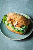 A pulled salmon sandwich