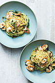 Angelhair-Pasta mit Shrimps