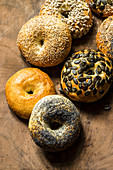 Bagels with seeds and nuts