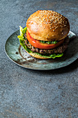 A halal beef burger with mint chutney