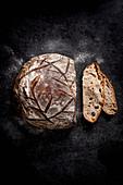 Freshly baked rye sourdough bread