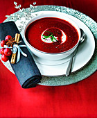 Christmas Beetroot Soup with creme fraiche