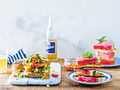 Braailoumi burger with relish, Summer caprese salad with watermelon and Braailoumi