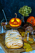 Halloween dinner with Apple pie with eyes, meatloaf and citrus punch