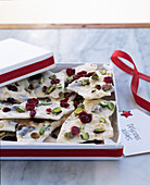White chocolate bark with nuts and dried fruits for gifting at Christmas