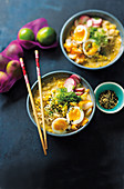Creamy haddock and sweetcorn ramen bowls