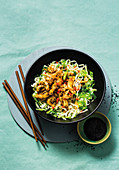Sticky sesame chicken and noodle bowls