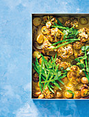 Cauliflower curry traybake