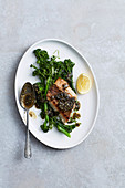 Snapper and broccolini and nori-miso butter