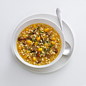 Autumnal barley soup with pumpkin and mushrooms