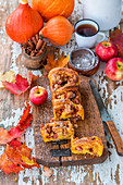 Apple and pumpkin sweet yeast cake with cinnamon