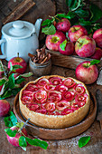 Apple roses pie with custard cream fillimg