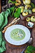 Apple and celery soup with blue cheese