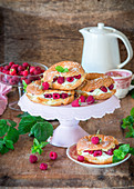 Choux pastry rings with raspberries