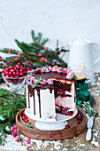 Christmas cake with cranberries, cranberry cheesecake layer, creamcheese and chocolate
