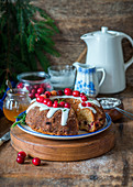 Cranberry and honey bundt cake