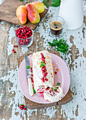 Cranberry and pear meringue roll