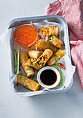 Filipino lumpia with vegetable and pork sausage