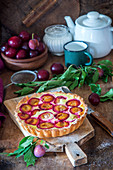 Plum pie wit quark filling