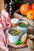 Pumpkin and chicken broth soup