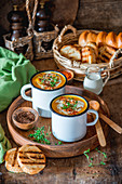 Pumpkin soup in mugs