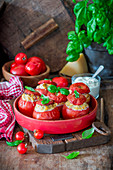 Stuffed tomatoes with chicken and rice