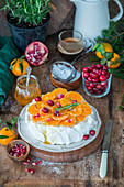 Tangerine pavlova