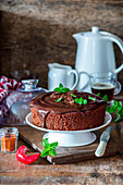 Chocolate cake with hot pepper and spices