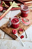 Rhubarb jam in a jar