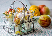 Eton mess with lemon quark, rosemary apples and meringue