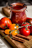 Tomato jam with chilli and cinnamon
