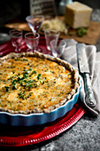 Quiche with Prästost cheese, leek and walnuts (Sweden)