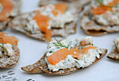 Crispbread canapés with salmon