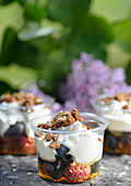 Yoghurt with fruit, honey and muesli served in dessert glasses