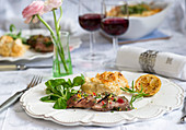 A festive spring meal with lamb fillet and gratin