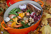 Ingredients for an autumnal lamb stew with Burgundy, root vegetables and mushrooms