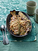 Trote alle nocciole (trout with hazelnuts, Italy)
