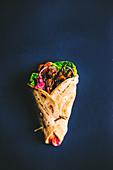 Vegan 'Pulled jackfruit' shawarmas