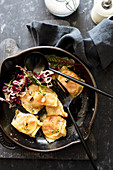 Sweet potato ravioli with parmigiana