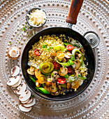 Fried vegetables with bulgur and mushrooms
