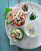 Stuffed peppers with tuna fish, capers and cottage cheese