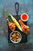 Chicken legs with melon salsa
