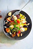 Mediterranean halloumi salad with olives