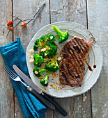Rump steak with balsamic and almond broccoli