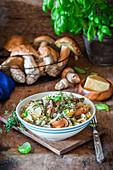 Porchini thyme cream pasta
