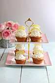 Muffins with lemon cream on a cake stand